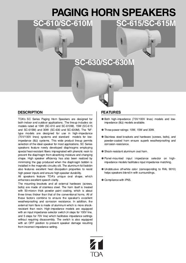 PAGING HORN SPEAKERS             SC-610/SC-610M                                                      SC-615/SC-615M       ...