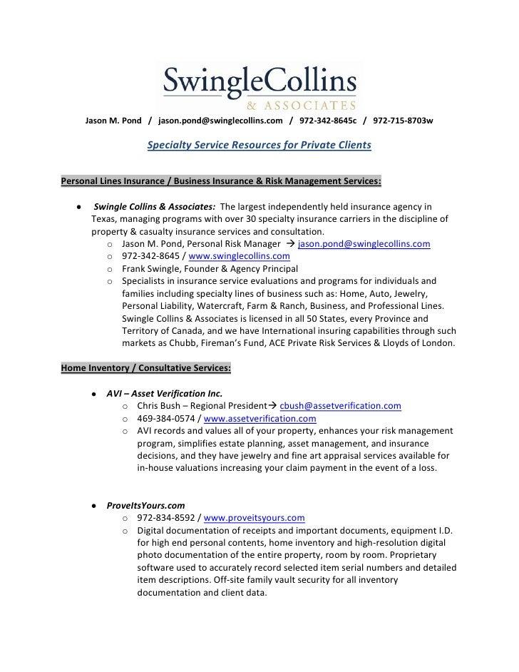 Jason M. Pond / jason.pond@swinglecollins.com / 972-342-8645c / 972-715-8703w                    Specialty Service Resourc...