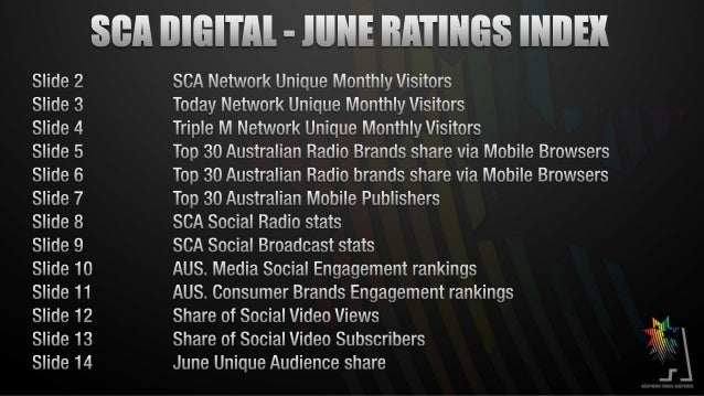SCA Digital June 2013 Results