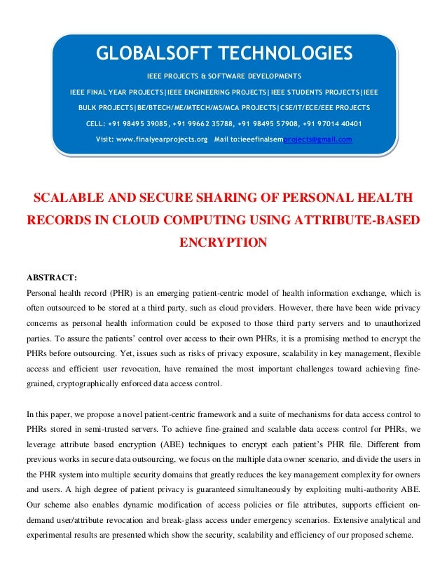 JAVA 2013 IEEE CLOUDCOMPUTING PROJECT Scalable and secure sharing of personal health records in cloud computing using attribute based encryption