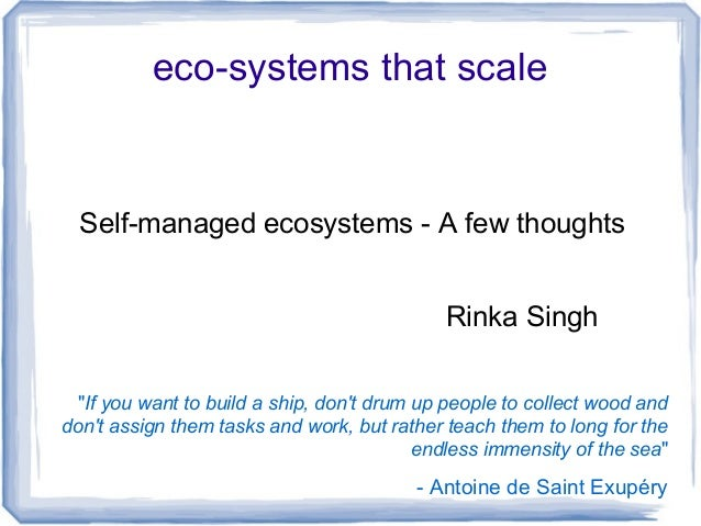 Scalable ecosystems - some learnings