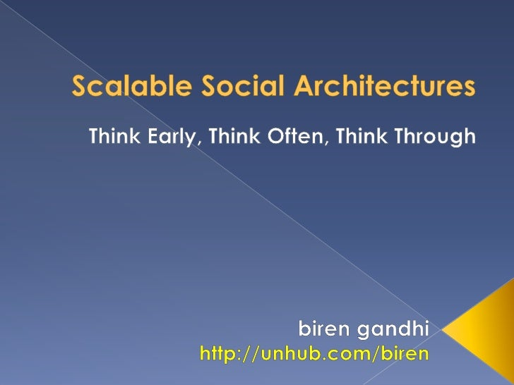 Scalable Social Architectures<br />Think Early, Think Often, Think Through<br />birengandhi<br />http://unhub.com/biren<br />