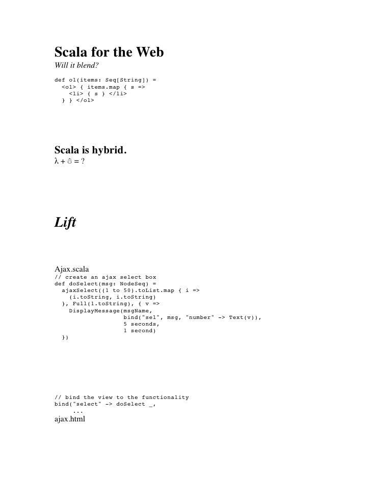 Scala for the web Lightning Talk