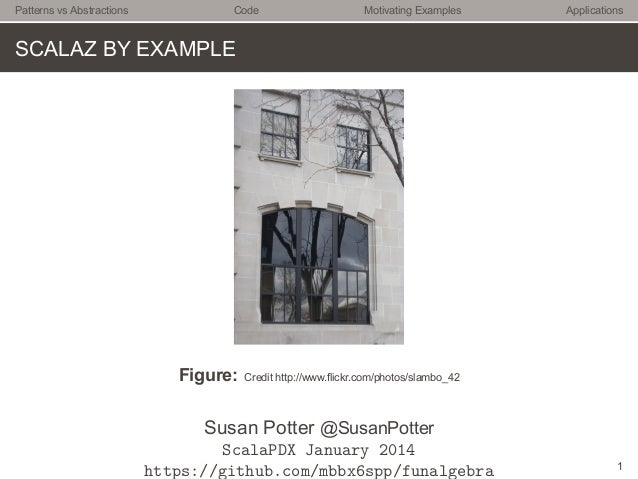 Patterns vs Abstractions  Code  Motivating Examples  Applications  SCALAZ BY EXAMPLE  Figure:  Credit http://www.flickr.co...