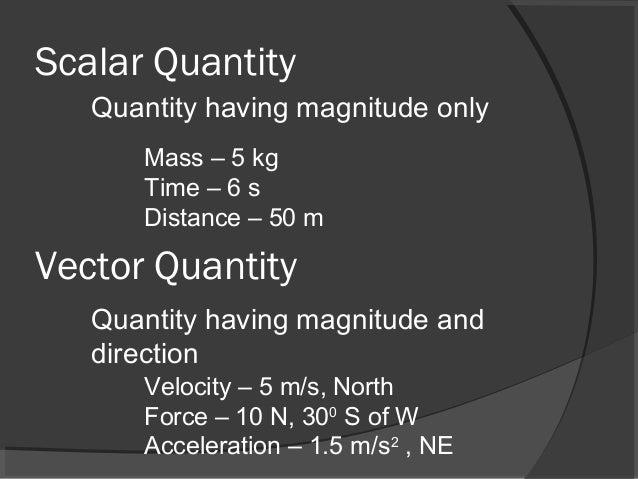 Scalar Quantity Vector Quantity Quantity having magnitude only Quantity having magnitude and direction Mass – 5 kg Time – ...