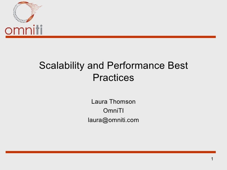 Scalability and Performance Best Practices Laura Thomson OmniTI [email_address]