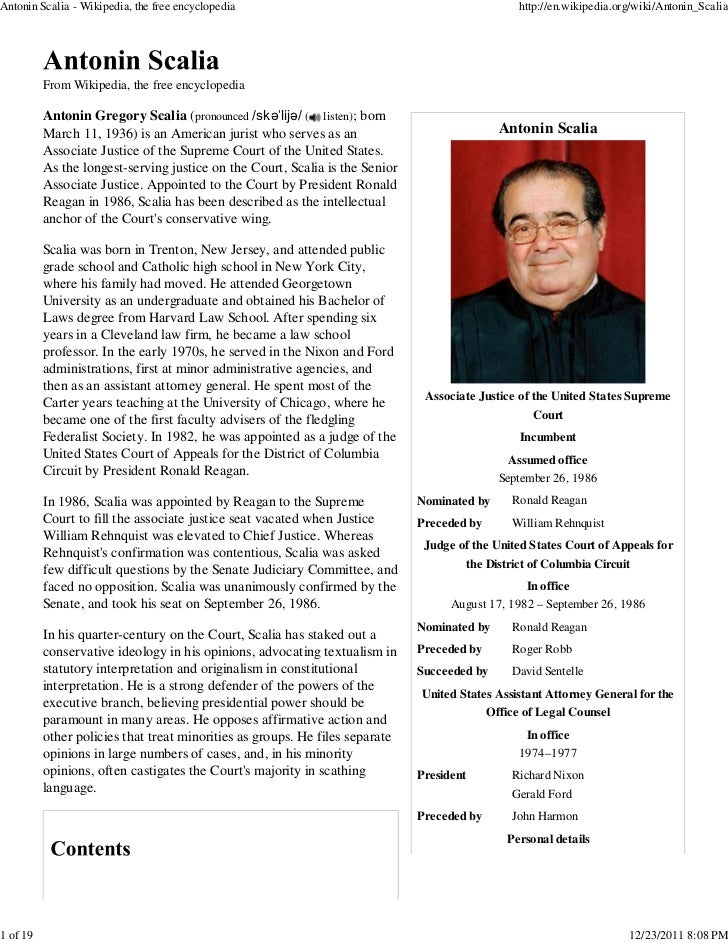 Antonin Scalia - Wikipedia, the free encyclopedia                                                 http://en.wikipedia.org/...