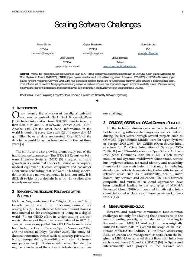 SUCRE CLOUDSOURCE MAGAZINE  1  Scaling Software Challenges Alvaro Simón  Carlos Fernández  Victor Mendez  CESGA asimon@ces...