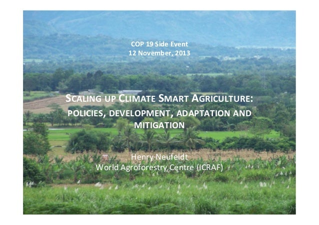 Scaling up Climate Smart Agriculture:  policies, development, adaptation and mitigation - Henry Neufeldt (ICRAF)