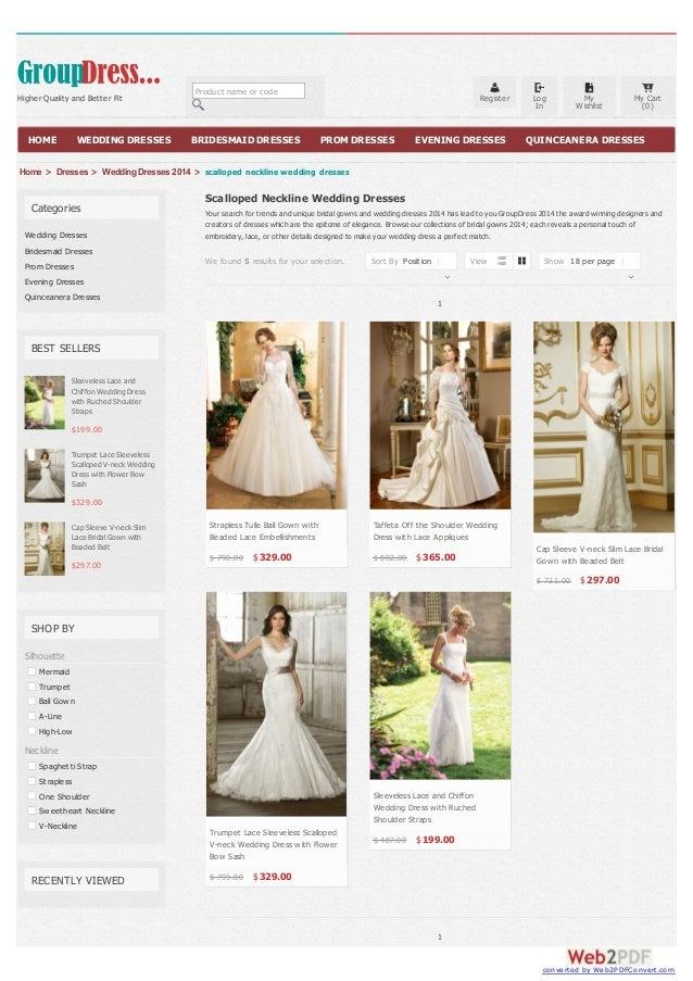 Scalloped neckline wedding dresses