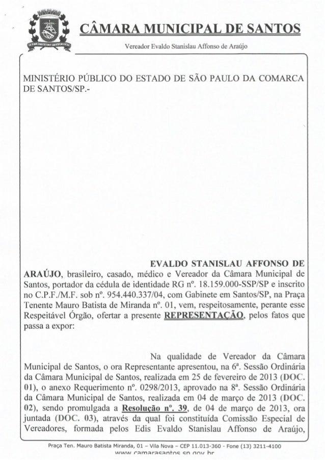 Representação ao MP sobre a descida de Ônibus na Pista Sul da Imigrantes