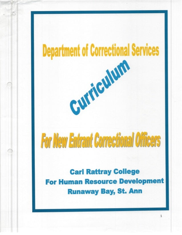Dept.of Correctional Services - Curriculum for New Entrant Officers - Jamaica