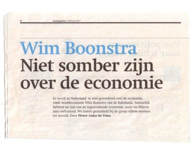 6   Sneinspetiele   19 februari   2013     somber zijnover d econo ·e    Er wordt in Nederland te veel gesomberd over de e...