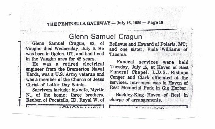 Glenn S Cragun Obituary
