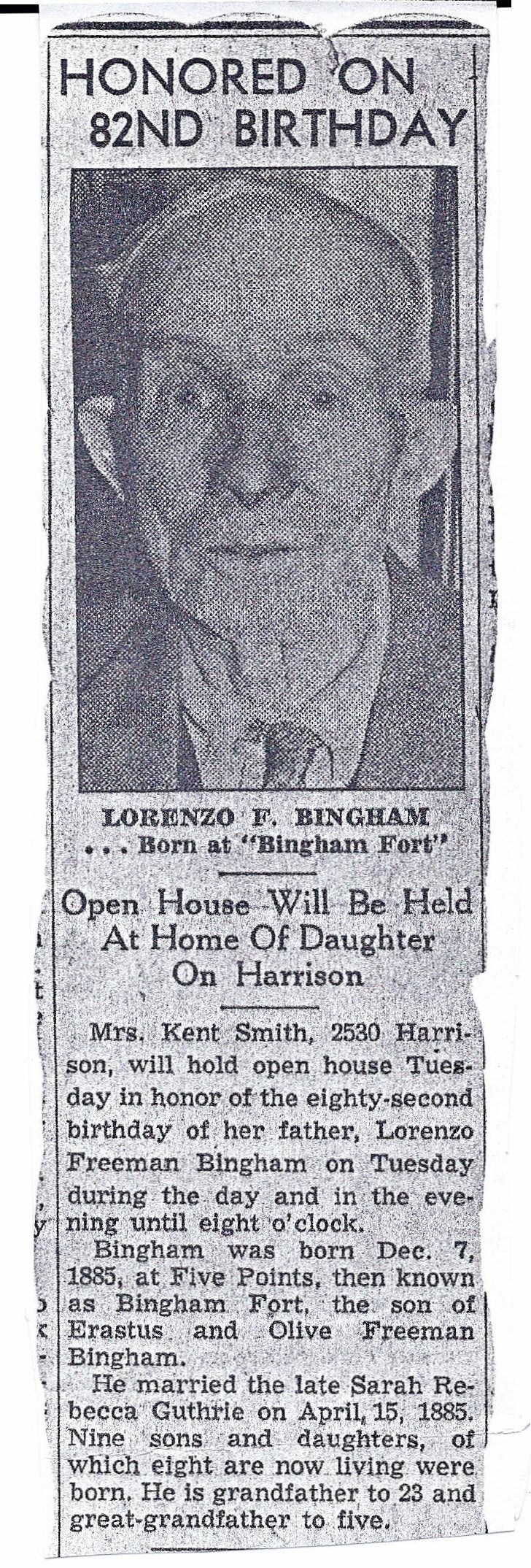 Lorenzo Freeman Bingham Birthday Announcement