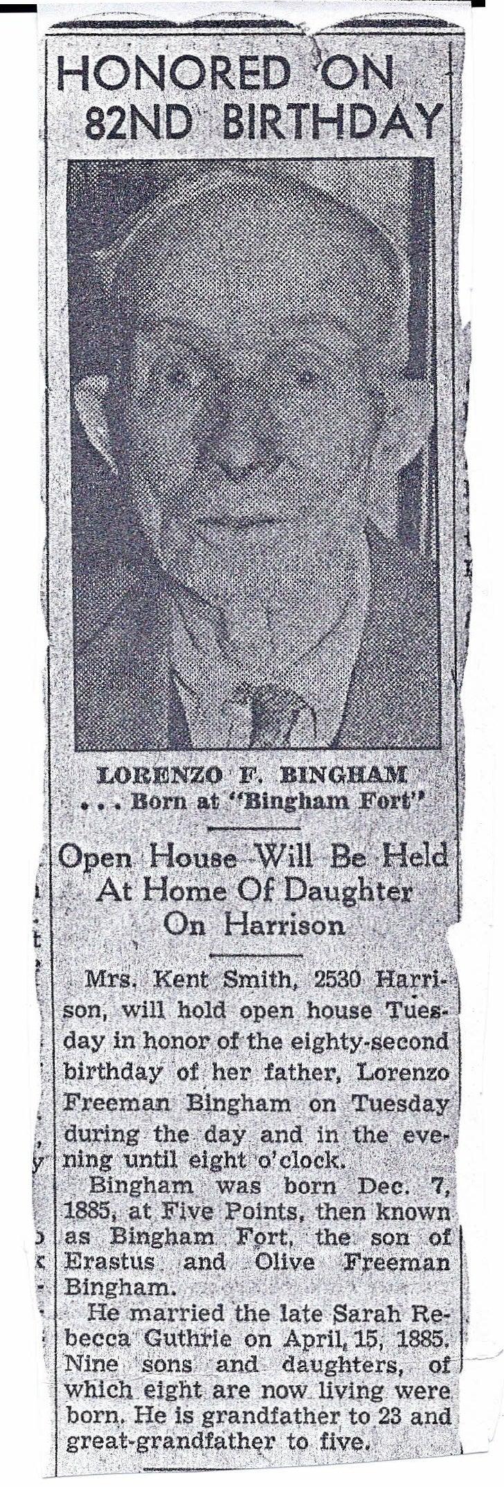 Lorenzo Freeman Bingham Birthday Announcement