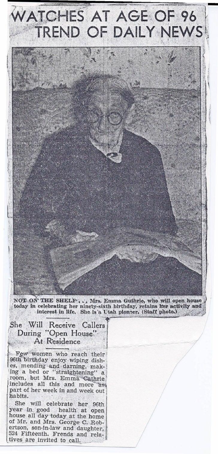 Emma Guthrie aged 96 Newspaper story