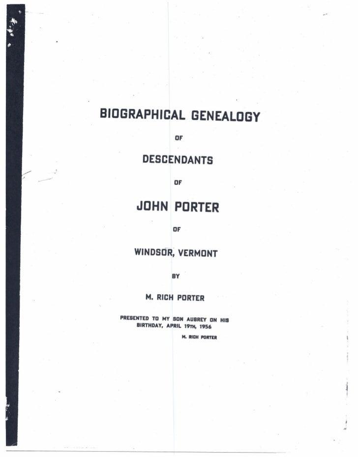 BIOGRAPHICAL               GENEALOGY                   OF         DESCENDANTS                   OF        JOHN PORTER     ...