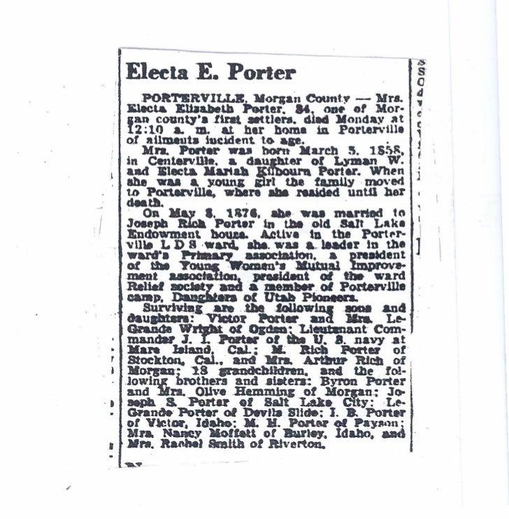 Electa E Porter Obituary