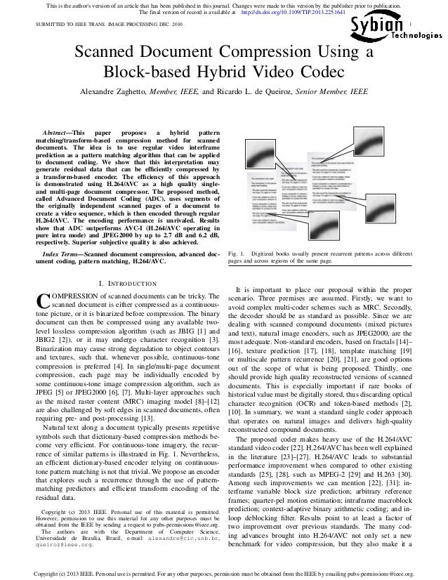 SUBMITTED TO IEEE TRANS. IMAGE PROCESSING DEC. 2010 1 Scanned Document Compression Using a Block-based Hybrid Video Codec ...