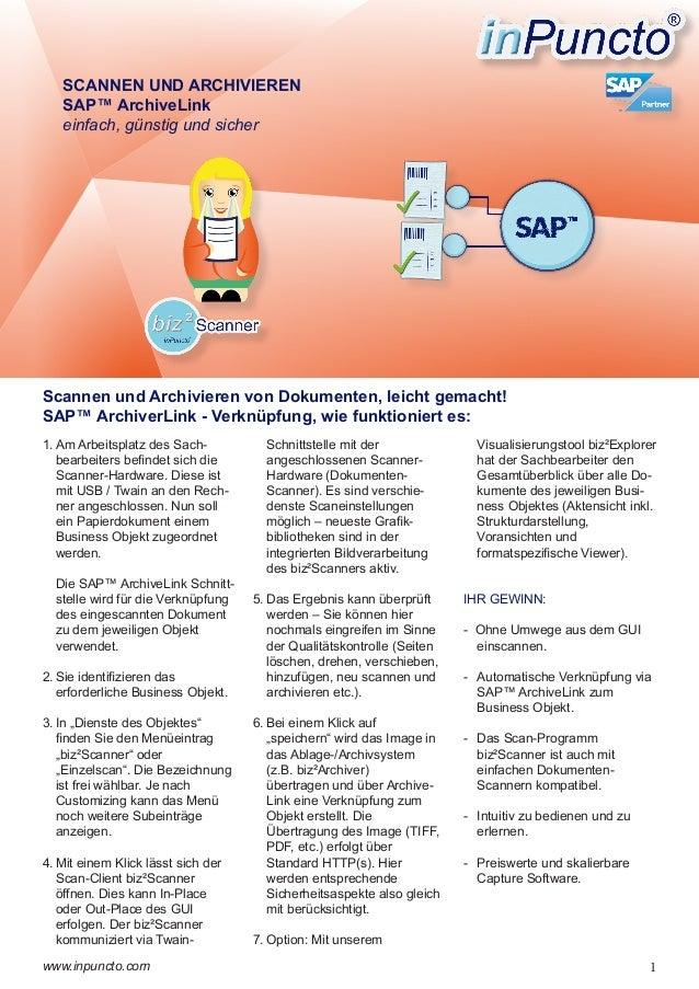 SAP™ ArchiveLink - Scannen und Archivieren von Dokumenten direkt an Business Objekte