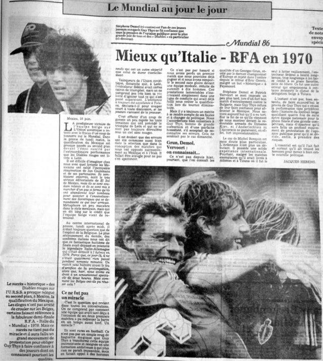 Victoire des Diables 1986 contre l'Union soviétique