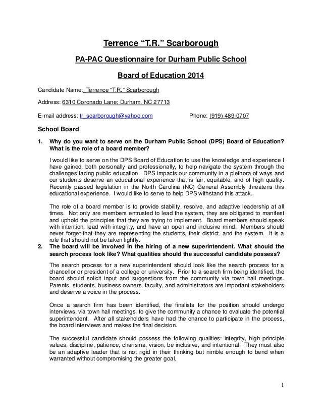 "1 Terrence ""T.R."" Scarborough PA-PAC Questionnaire for Durham Public School Board of Education 2014 Candidate Name:_Terren..."