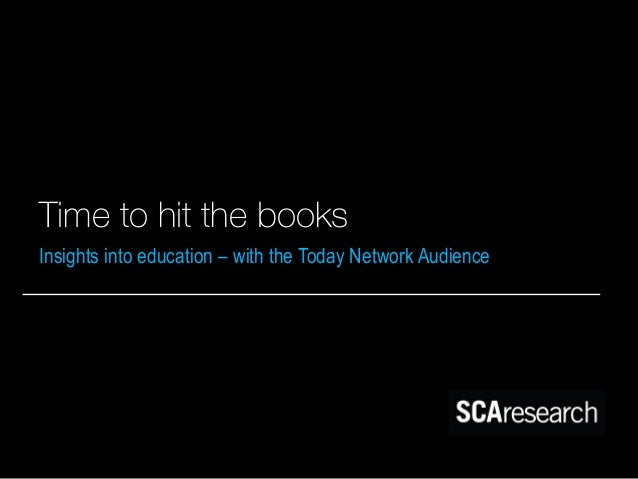 Time to hit the books Insights into education – with the Today Network Audience