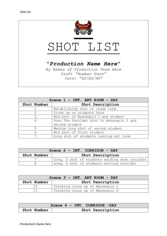 Scarlett's shot list