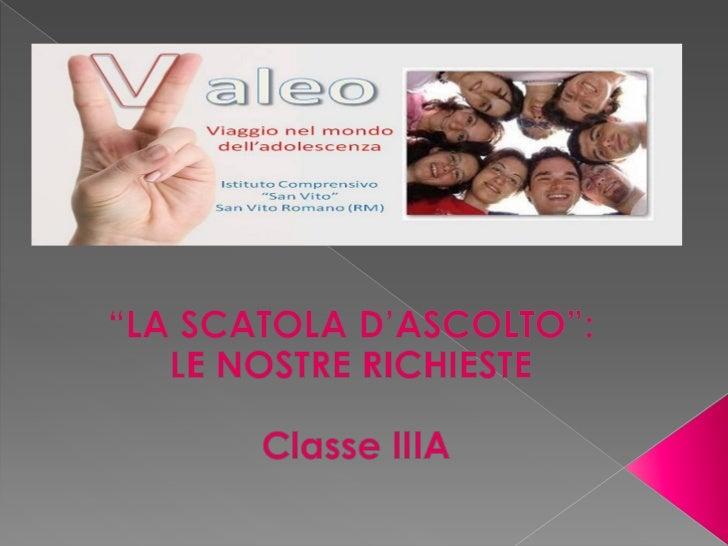 Progetto Valeo_Scatola d'ascolto IIIA