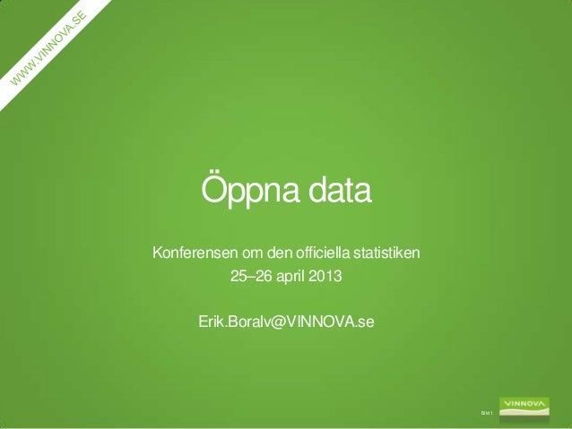 Öppna data på Konferensen om den officiella statistiken 25–26 april 2013