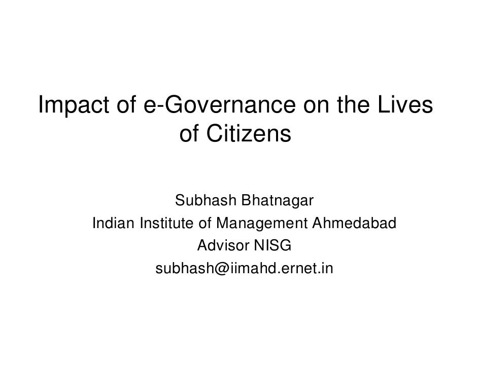 Impact of e-Governance on the Lives of Citizens  - Subhash Bhatnagar