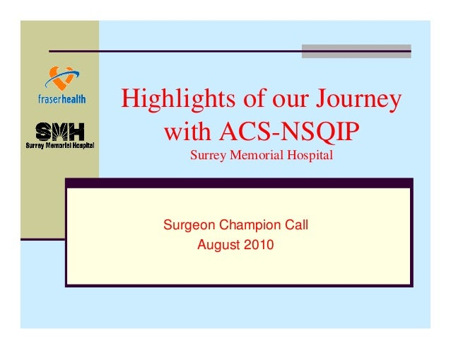 Highlights of our Journey with ACS-NSQIP Surrey Memorial Hospital  Surgeon Champion Call August 2010
