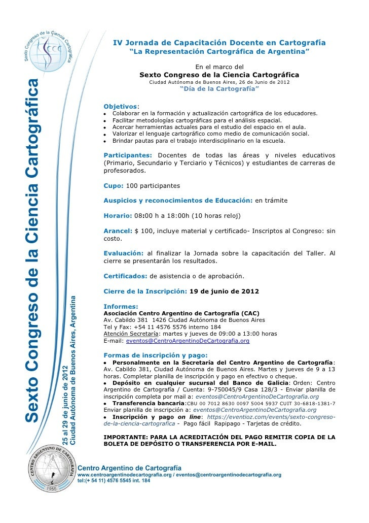 """IV Jornada de Capacitación Docente en Cartografía        """"La Representación Cartográfica de Argentina""""                    ..."""