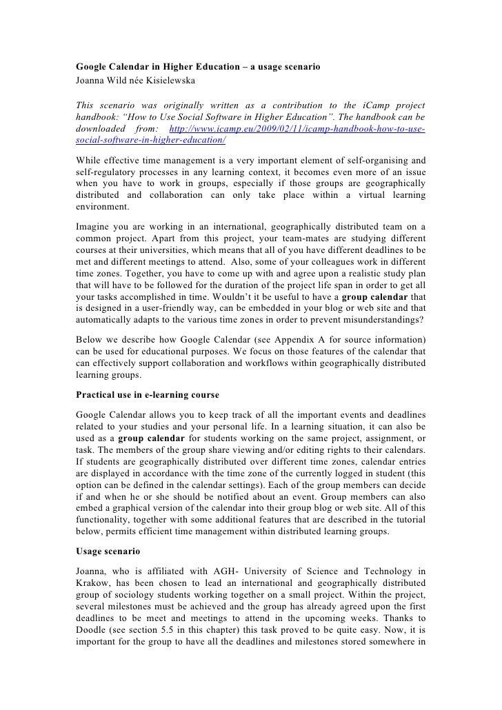 Google Calendar in Higher Education – a usage scenario Joanna Wild née Kisielewska  This scenario was originally written a...
