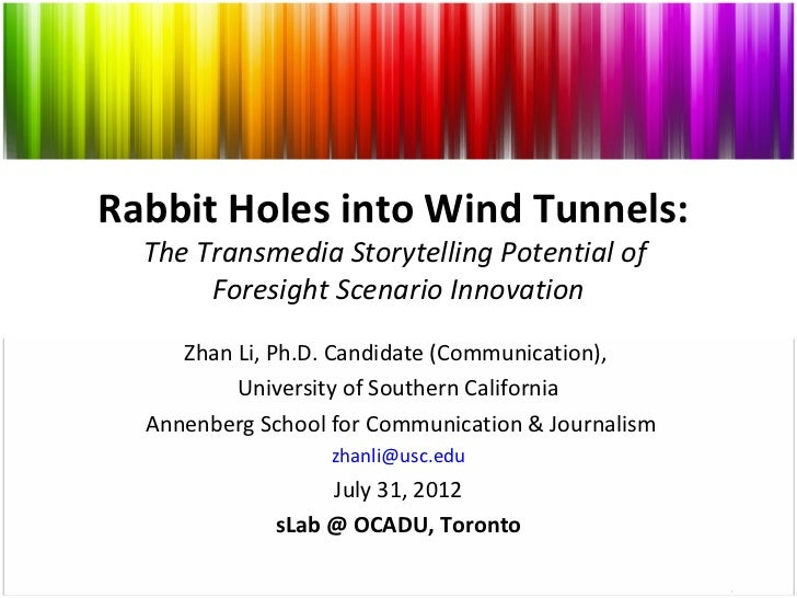 Rabbit Holes into Wind Tunnels:  The Transmedia Storytelling Potential of       Foresight Scenario Innovation     Zhan Li,...
