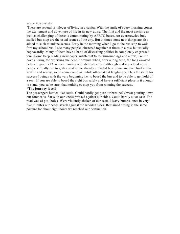 Descriptive writing my journey to school