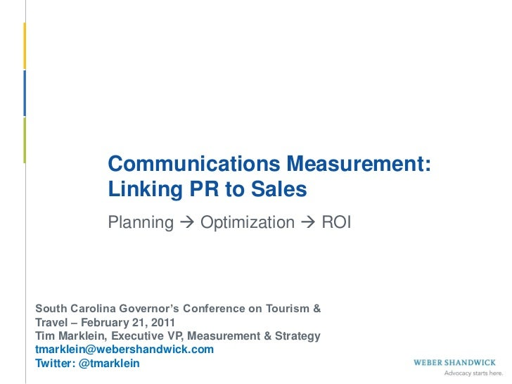 Linking PR to Sales (South Carolina Governor's Conference on Tourism & Travel)