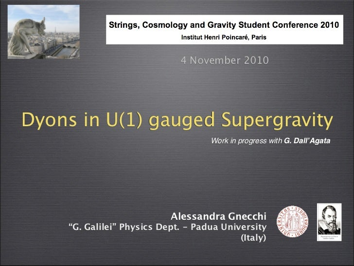 4 November 2010Dyons in U(1) gauged Supergravity                                     Work in progress with G. Dall'Agata  ...