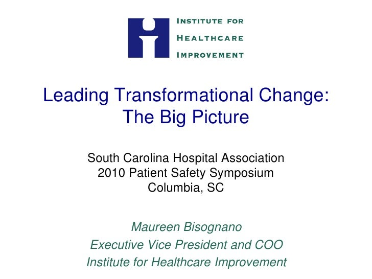 Leading Transformational Change:          The Big Picture      South Carolina Hospital Association      2010 Patient Safet...