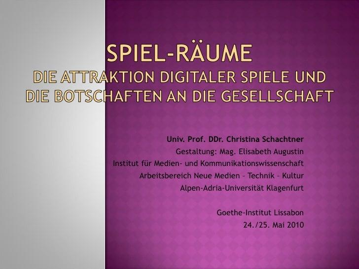 Univ. Prof. DDr. Christina Schachtner Gestaltung: Mag. Elisabeth Augustin Institut für Medien- und Kommunikationswissensch...