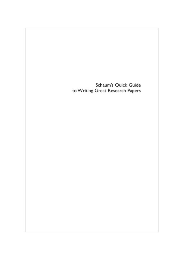 schaums quick guide to writing great research papers download