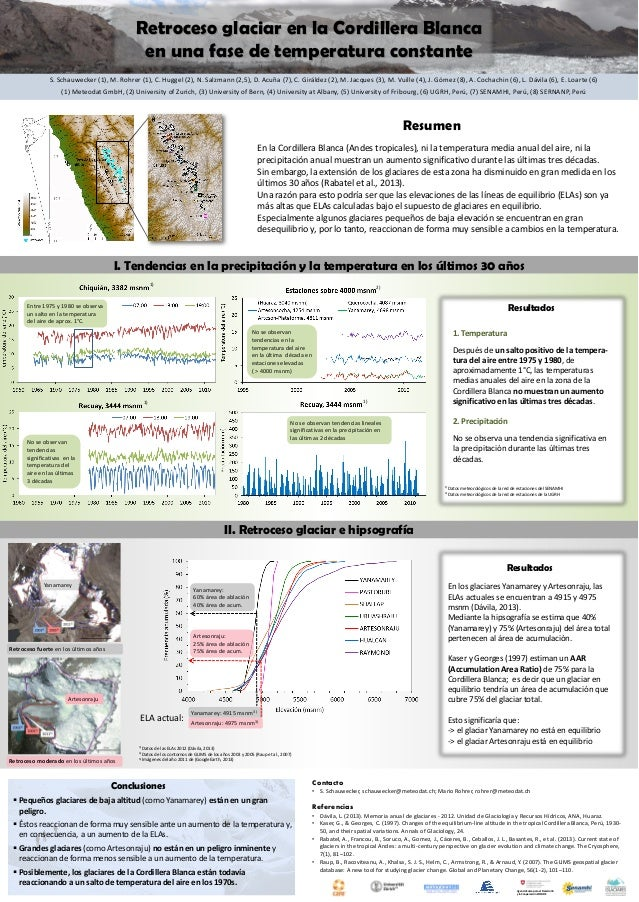 Retroceso glaciar en la Cordillera Blanca en una fase de temperatura constante