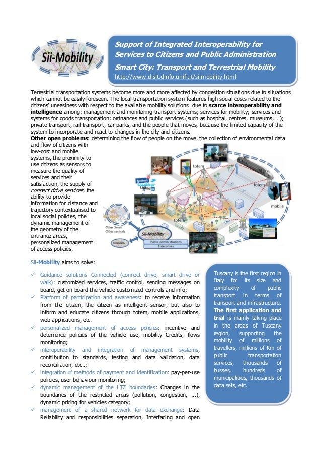 Support of Integrated Interoperability for  Services to Citizens and Public Administration      Smart City: Transpor...