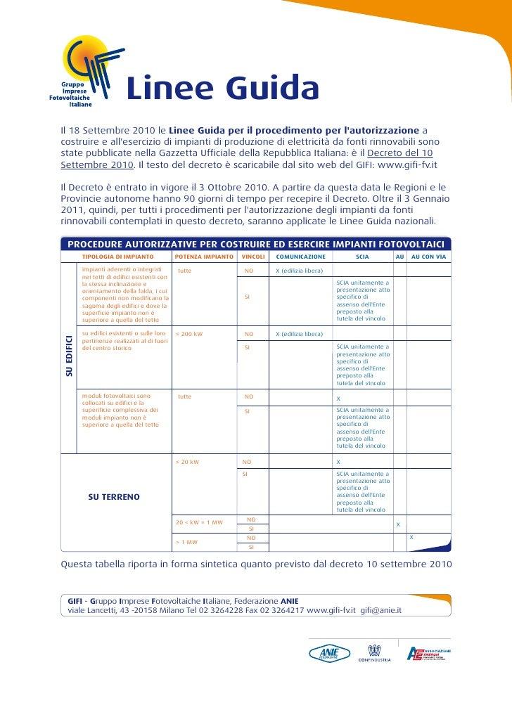 Linee GuidaIl 18 Settembre 2010 le Linee Guida per il procedimento per lautorizzazione acostruire e allesercizio di impian...
