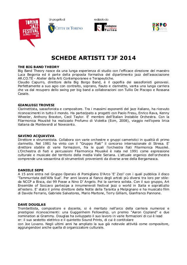Schede artisti torino jazz festival tjf 2014