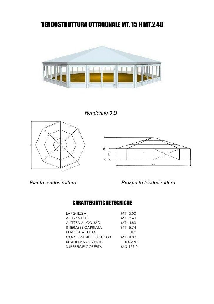 TENDOSTRUTTURA OTTAGONALE MT. 15 H MT.2,40                             Rendering 3 D     Pianta tendostruttura            ...