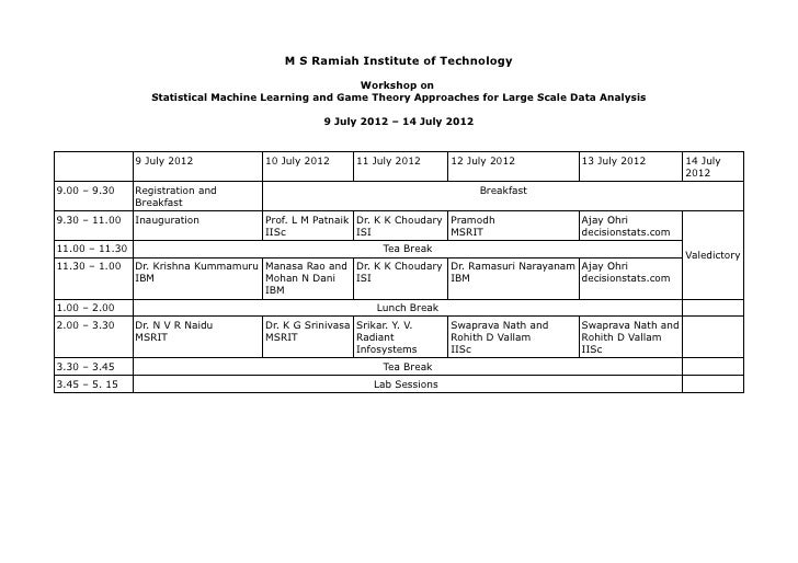 M S Ramiah Institute of Technology                                                       Workshop on                   Sta...