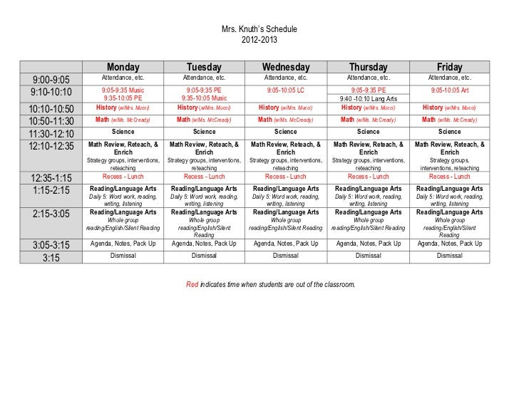 Mrs. Knuth's Schedule                                                                             2012-2013               ...