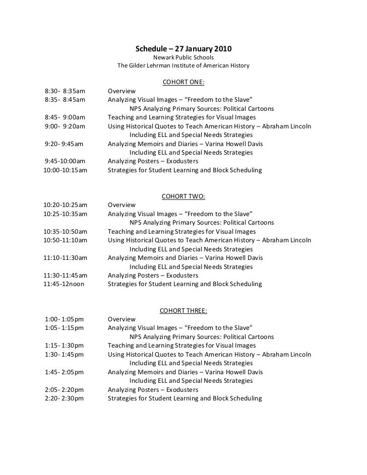 Schedule – 27 January 2010<br />Newark Public Schools<br />The Gilder Lehrman Institute of American History<br />COHORT ON...